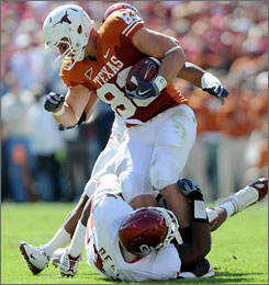 In addtion to being the long snapper for Texas, Greg Smith also is the team's starting tight end.