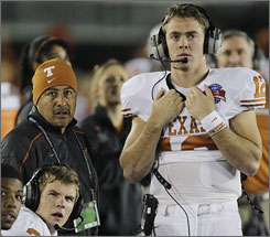 Colt McCoy did not play after injuring himself in the first quarter.