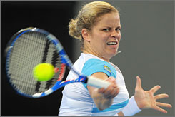 Kim Clijsters hits back at Andrea Petkovic during the Brisbane International semifinals.