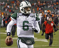 Jets QB Mark Sanchez emerged a victor in his first-ever playoff game on Saturday.