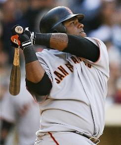 The San Francisco Giants' Pablo Sandoval, shown in a game Oct. 4, has homered five times and hit .462 in his first nine games of the Venezuelan winter league playoffs for Magallanes.
