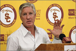 Pete Carroll left USC on Monday to become the head coach of the Seahawks.