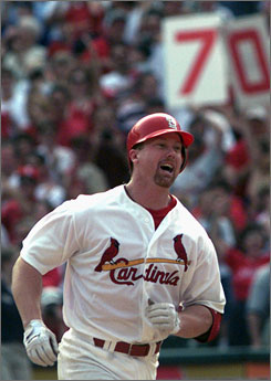 Mark McGwire, rounding the bases after hitting his 70th home run of the season in 1998, admitted he used steroids on and off for nearly a decade.