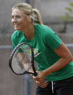 Maria Sharapova practices in Manhattan Beach, Calif., in December in preparation for the 2010 season.