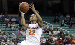 Virginia guard Monica Wright scored 20 points in Monday's loss to Maryland, but not before breaking Dawn Staley's career scoring mark. Wright needed 16 points to pass Staley's school-record of 2,135 points.