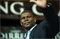 "Former middleweight champion Jermain Taylor, above at a July news conference in Copenhagen, withdrew from the Super Six World Boxing Classic on Tuesday, saying, ""I'm going to take some time off from the sport of boxing."""