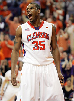 Trevor Booker scored 21 points to help the Clemson Tigers beat the North Carolina Tar Heels for the first time in nearly six years.