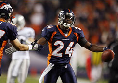 Champ Bailey  is second among  all active cornerbacks in interceptions with 46.