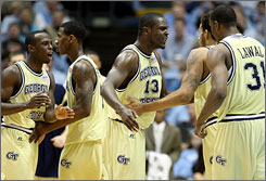 The Georgia Tech Yellow Jackets took it to No. 13 North Carolina at the Dean Dome on Saturday, holding on for a 73-71 victory.