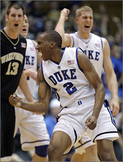 Duke's Nolan Smith (2) and Mason Plumlee, right rear, celebrate a Blue Devils basket as Wake Forest's Chas McFarland, left, shows his displeasure. Smith had 21 points and Plumlee added 11 in Duke's 90-70 win.