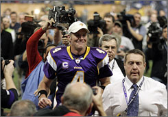Brett Favre is returning to the NFC title game with the Vikings, less than five months after emerging from retirement.