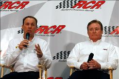 Owner Richard Childress, right, and one of his drivers, Kevin Harvick, discuss improvements to the team.
