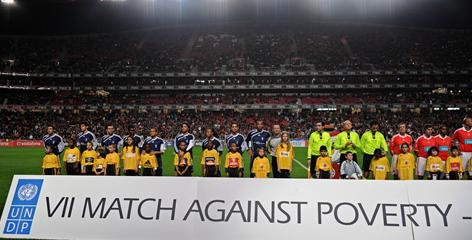 Forty international soccer stars from teams across the world join UNDP (United Nations Development Programme) in support of Haiti at the seventh annual Match Against Poverty, held this year at Benfica's Luz Stadium.