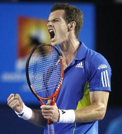 Andy Murray of Scotland roars after winning a point during his quarterfinal match Tuesday against Rafael Nadal of Spain. Murray, who was dominating the match when Nadal retired in the third set because of a knee injury, reaches the Australian Open semifinals for the first time.
