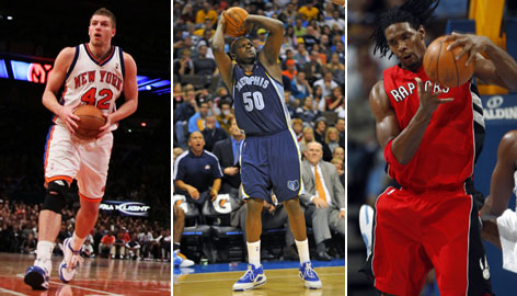 (From left to right) The New York Knicks' David Lee, the Memphis Grizzlies' Zach Randolph and the Toronto Raptors' Chris Bosh have made strong cases to be picked as reserves for the All-Star Game.