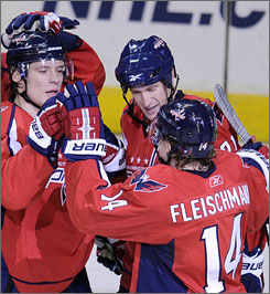 The Capitals' second line of Alexander Semin, left, Brooks Laich, center, and Tomas Fleischmann are one of the NHL's most underrated trios.