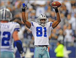 Terrell Owens caught 114 touchdowns during the 2000s, which trailed only Randy Moss' 120 scores.