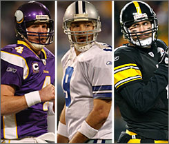 Brett Favre, Tony Romo and Ben Roethlisberger were invaluable to their teams in 2009.