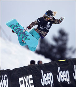 Gretchen Bleiler completes a jump during the women's snowboard superpipe qualifying at the Winter X Games. Bleiler, a 2006 Olympic silver medalist, qualifed second, 0.34 points behind Kelly Clark.