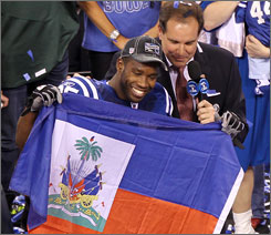 Pierre Garcon caught 11 passes for 151 yards and a touchdown in the Colts' win against the Jets in the AFC title game.
