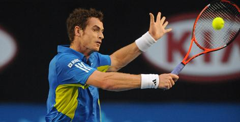 Andy Murray goes backhand on Marin Cilic during their Australian Open semifinal. Murray won the match and hopes to become Britain's first male champion at a major event since Fred Perry won in Melbourne in 1936.