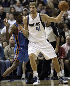 Dallas Mavericks forward Dirk Nowitzki, right, and Oklahoma City Thunder forward Kevin Durant were among reserves picked for the NBA All-Star Game. Nowitzki is a nine-time All-Star, while Durant was selected for the first time.