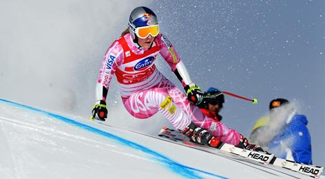 Colorado's Lindsey Vonn finished third in the super-combined in Saint Moritz but retained her overall World Cup lead.