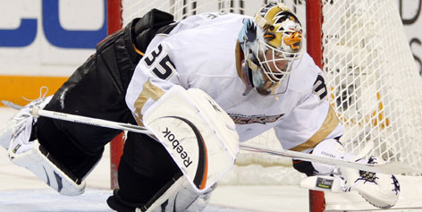 Goalie Jean-Sean Sebastien Giguere had a record of 4-8-5 with a 3.14 GAA and .900 save precentage with Anaheim this season before being shipped off to Toronto. Giguere won the 2007 Stanley Cup with the Ducks and earned the Conn Smythe Trophy in the 2003 Stanley Cup Finals.