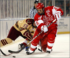 Boston's Kevin Shattenkirk battles for the puck during a game against rival Boston College on Jan. 8. Shattenkirk and the Terriers are the defending NCAA champions but are struggling at 9-11-3 heading into the 58th annual Beanpot.