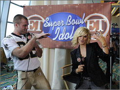 Ex-'American Idol' contestant Kimberly Caldwell was on hand at Super Bowl media day to host 'Super Bowl Idol.'