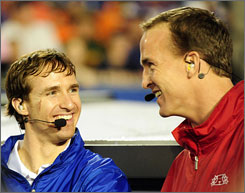 Drew Brees, left, is trying to join Peyton Manning in the club of quarterbacks who have won Super Bowl titles.