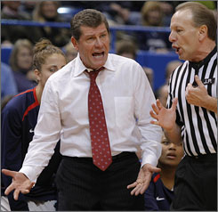 With 61 consecutive victories, coach Geno Auriemma's Connecticut team is approaching its own Division 1 record of 70 straight from 2001 to '03, and also the UCLA men's mark of 88 from 1971 to '74.