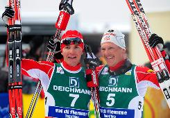 The United States has suffered through 86 years of futility in the Nordic combined competition at the Winter Olympics, but Bill Demong, left, and Todd Lodwick have the USA in good position to win its first medal in the event.