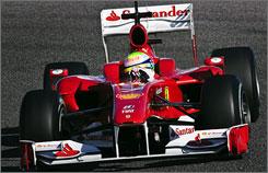 Felipe Massa pilots his Ferrari F10 during the second day of testing in Valencia.