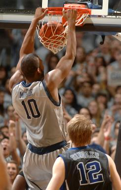 Georgetown's Greg Monroe slams down a dunk during the Hoyas' 89-77 defeat of Duke on Jan. 30.
