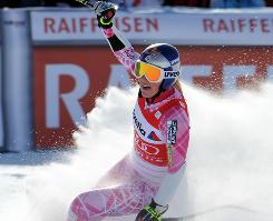 Lindsey Vonn reacts at the finish line after winning Sunday's super-G.