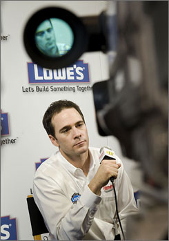 Jimmie Johnson fields questions during media day at Hendrick Motorsports' race shop in Concord, N.C.