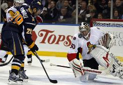 Senators goalie Brian Elliott makes a save on a shot by the Sabres' Jason Pominville during the third period. Elliot stopped 13 shots in the first period.