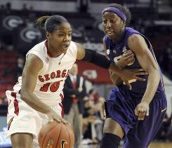 Georgia's Jasmine James drives around LSU's Allison Hightower during her 15-point performance in Athens, Ga.