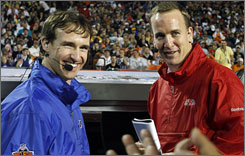 Super Bowl quarterbacks Drew Brees, left, and Peyton Manning will cross paths in Miami on Sunday, but the duo is also linked by a willingness to pass around charity and goodwill in New Orleans.