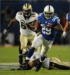 Running back Joseph Addai accumulated 135 total yard and a touchdown for the Colts in a losing  Super Bowl XLIV effort. 