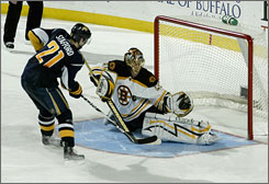Bruins goalie Tuukka Rask makes the game-clinching save on the Sabres' Drew Stafford during the shootout portion of Boston's win in Buffalo.