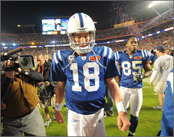 Peyton Manning and the Colts left the field losers on Sunday after falling to the Saints in Super Bowl XLIV.