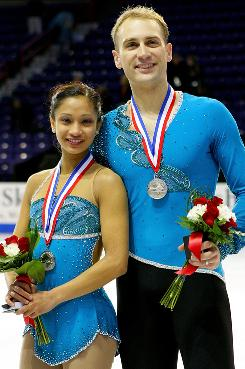 U.S. pairs Amanda Evora and Mark Ladwig pose after the medal ceremony for the pairs competition during the U.S. Figure Skating Championships at Spokane on Jan. 16,