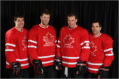 Canada's hockey team, which includes Patrick Marleau, Joe Thornton, Dany Heatley and Dan Boyle (left to right) of the San Jose Sharks, could claim the gold medal in Vancouver.