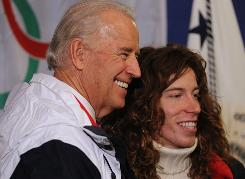Vice President Biden poses with Olympic snowboarder Shaun White at Canada Hockey Place on Friday during his visit with U.S. athletes in Vancouver in advance of the opening ceremonies.