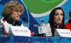 U.S. ice dancers Charlie White (left) and Meryl Davis meet with reporters in Vancouver on Friday.