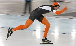 Sven Kramer of the Netherlands races to the gold medal in the 5,000 meters at the Richmond Olympic Oval on Saturday.