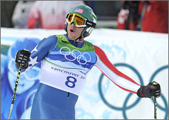 Bode Miller won a bronze medal on Monday in the men's downhill.