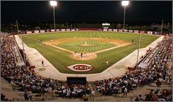 Ed Smith Stadium in Sarasota, Fla., was home last season to the Reds but this season will welcome the Orioles, who moved from Fort Lauderdale. The Reds now train in Goodyear, Ariz.